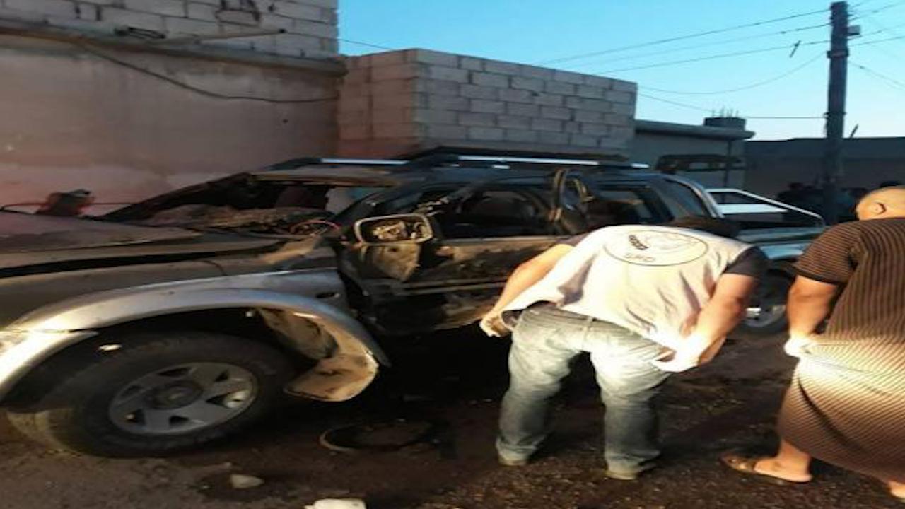 صورة مقتل مرتزق وجرح آخر في انفجار عبوة بسيارتهما في مدينة مارع