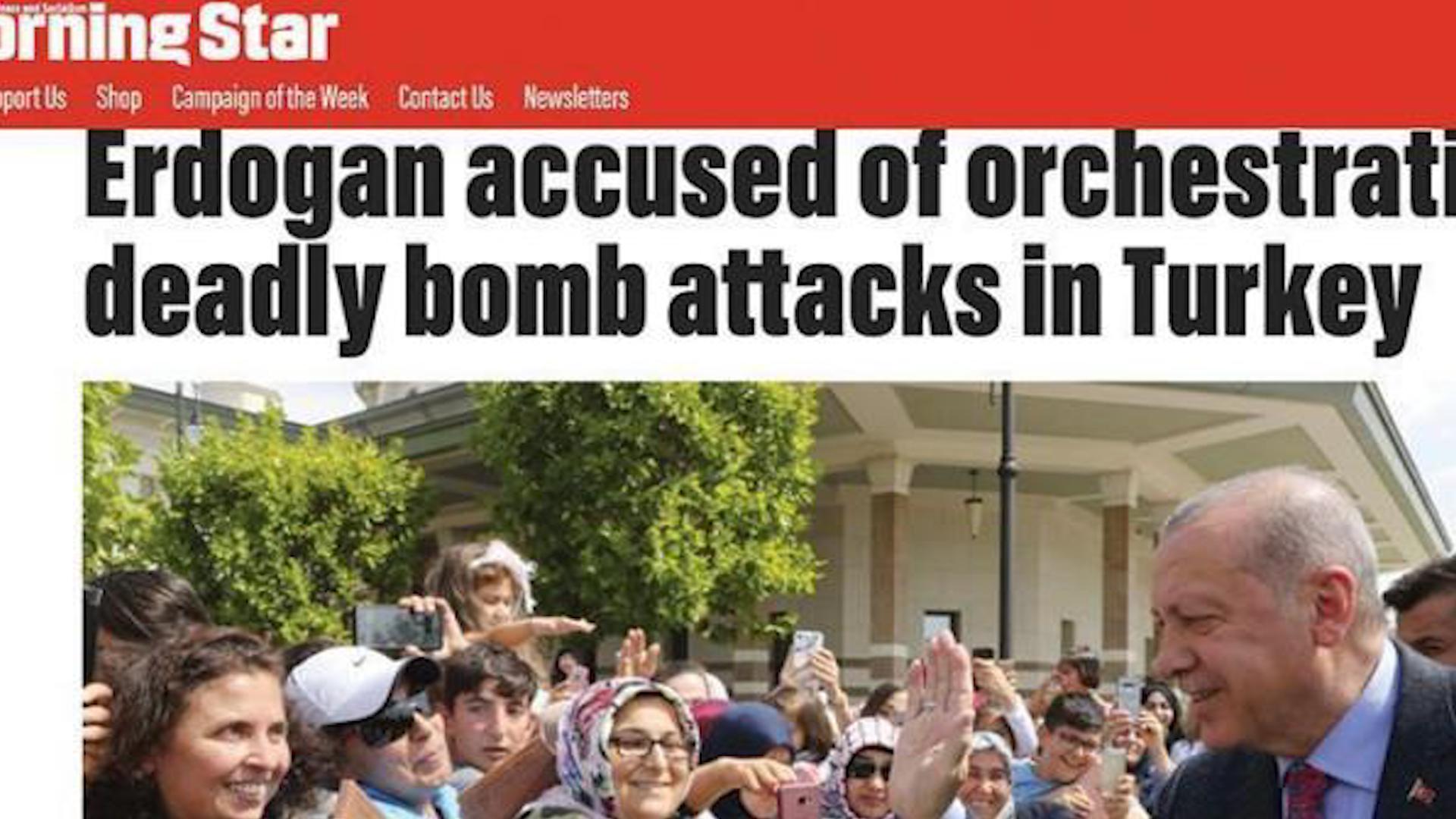 صورة صحيفة بريطانية تكشف ضلوع حكومة العدالة والتنمية التركية في عمليات إرهابية ضد المعارضة