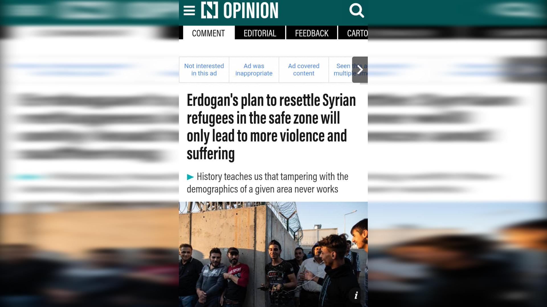 Photo of صحيفة: على خطى حزب البعث أردوغان يتبع سياسة التغيير الديمغرافي بحق الكرد