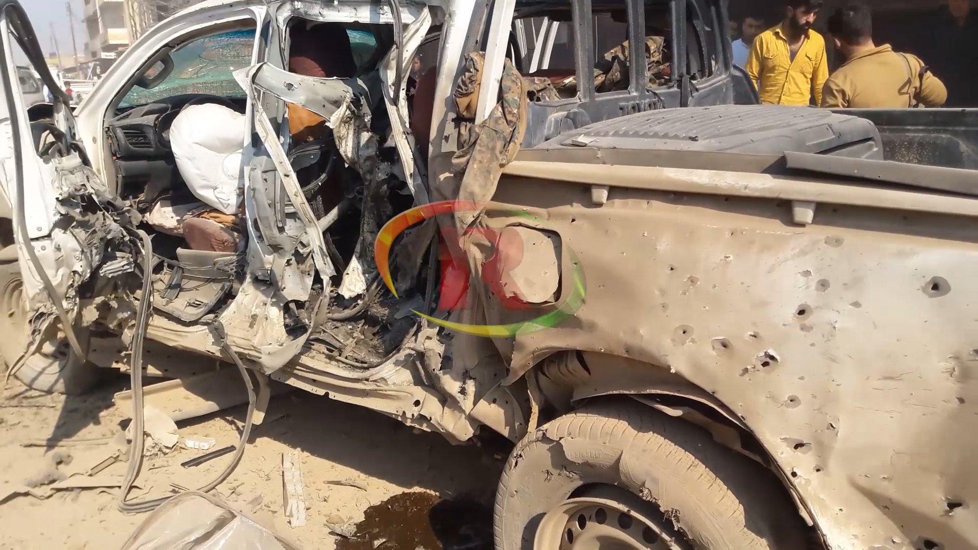 صورة انفجار دراجة نارية في حي الصالحية وجرح 4 مدنيين وعسكري