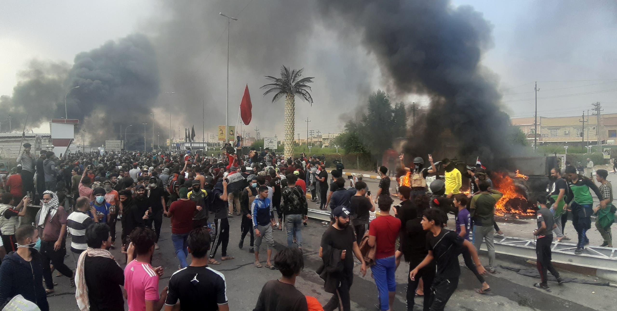 صورة مقتل متظاهر بالنجف واشتباكات في ذي قار