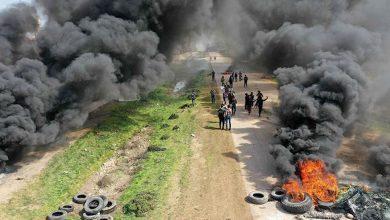 Photo of احتجاجات أمام مسار أول دورية روسية ـ تركية في إدلب