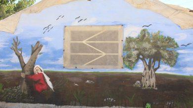 Photo of طفلة عفرينية تسرد واقع عفرين قبل وبعد الاحتلال خلال لوحة جدارية بمدخل المخيم