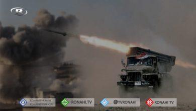 صورة قصف صاروخي للقوات الحكومية على نقاط المرتزقة في جبل الزاوية