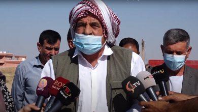 صورة العشرات من أهالي شنكال يطالبون بالافراج عن إثنين من مقاتلي وحدات الحماية