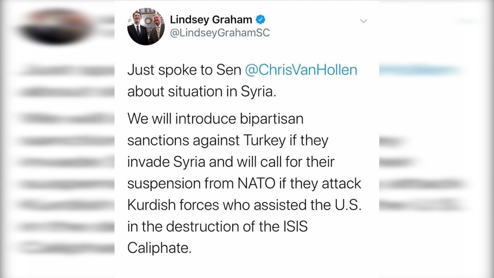 Photo of Lindsey Graham: êrîşek li ser kurdan wê dawî li endamtiya Tirkiyê ya di nato de bêne