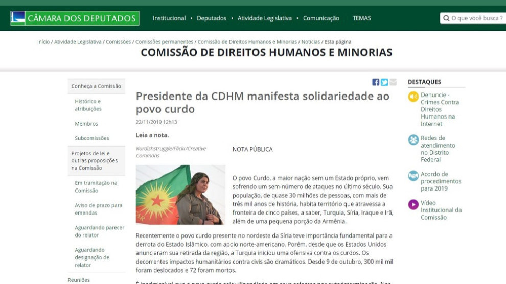 Photo of Komîsyona Mafê Mirovan a Parlementoya Brezîlyayê: Êrîşên li ser Kurdan nayên qebûlkirin