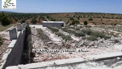 Photo of Bi wêne..Li Efrînê çeteyan li ser goristana şehîdan kampek ava kiriye