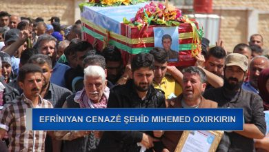 Photo of Efrîniyan cenazeyê şehîd Mihemed oxirkirin